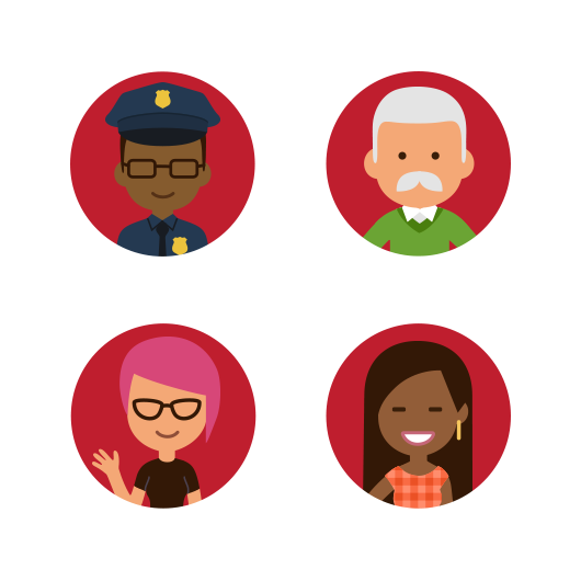 Four Illustrated People Smiling